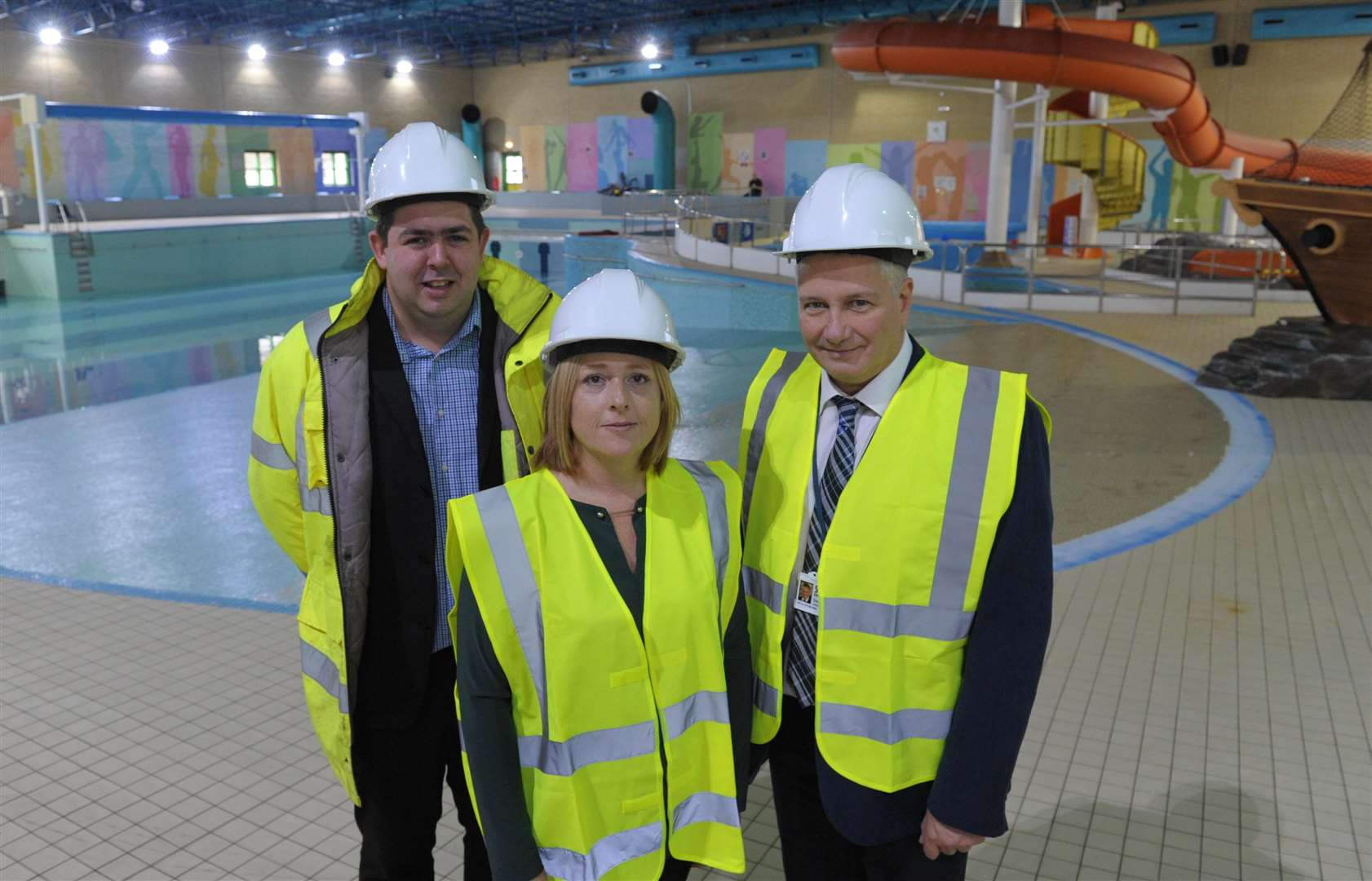 Craig King, Cllr Sarah Aldridge and Dave Harcourt ahead of work starting on the pool area.
