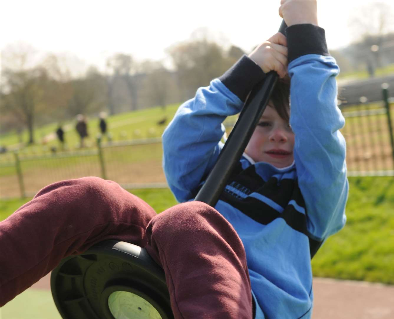Oscar tries out the new zip wires at the park on Sunday