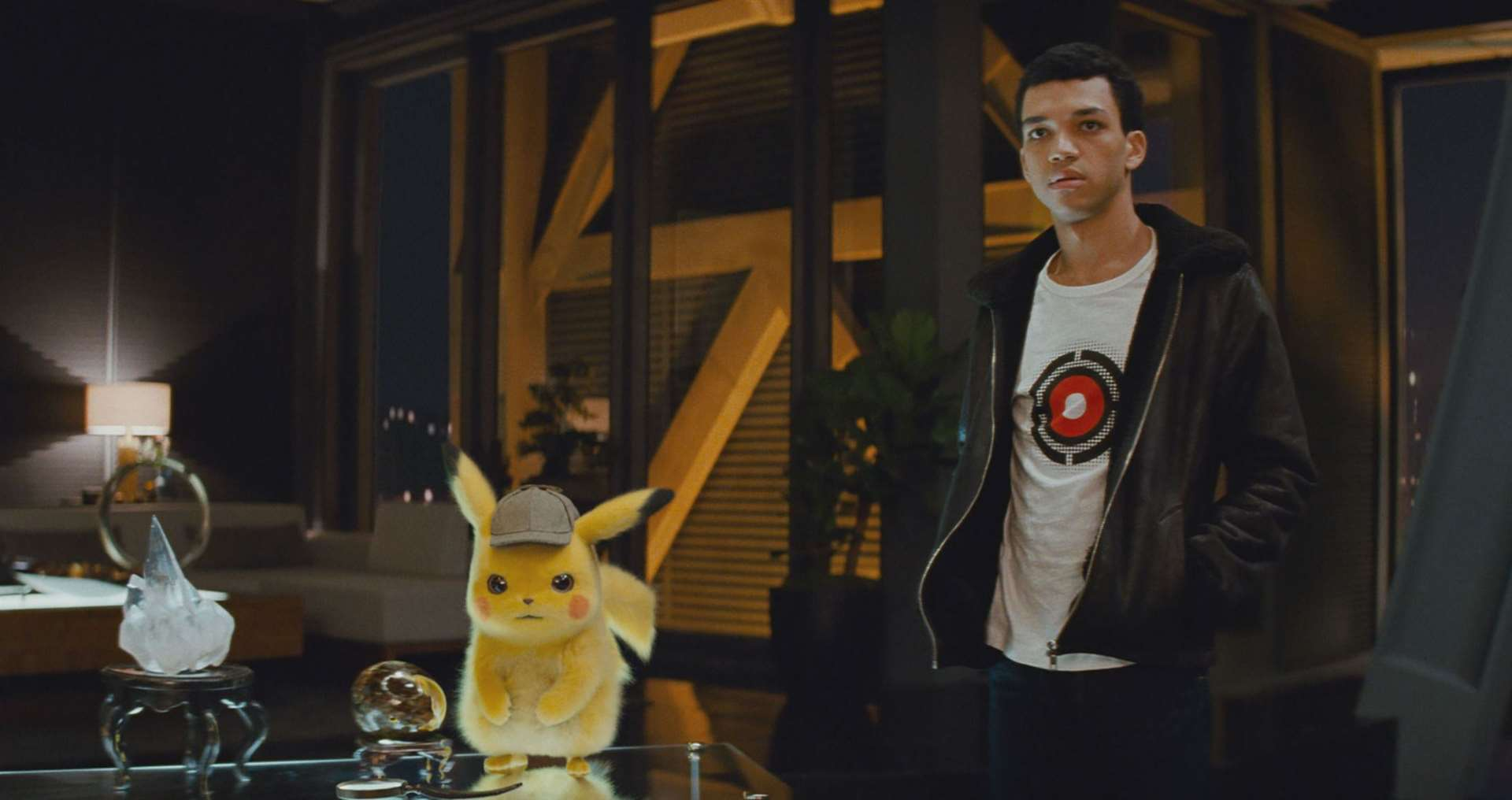 Pikachu (voiced by Ryan Reynolds) and Justice Smith as Tim Goodman. SPicture credit: PA Photo/Legendary/Warner Bros. Entertainment Inc.
