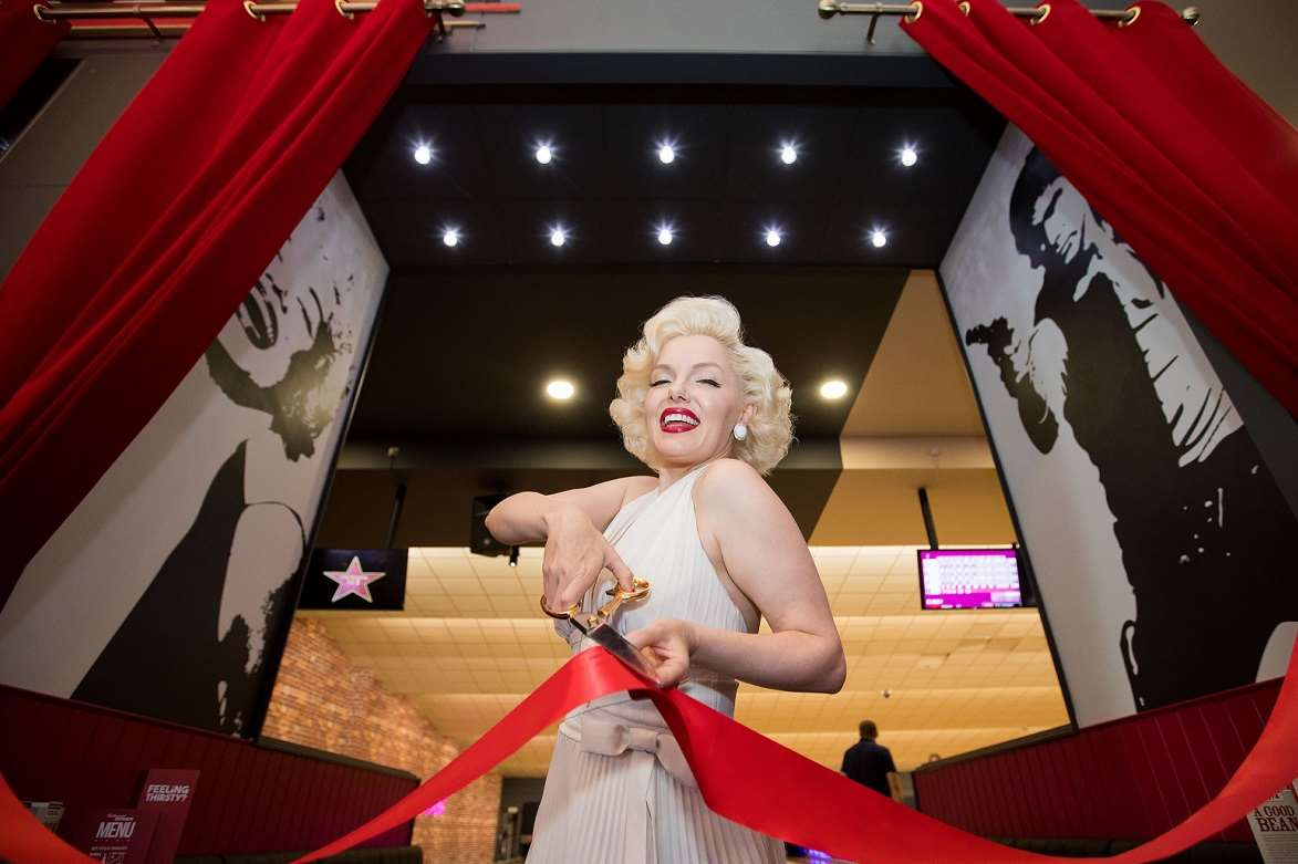 Marilyn cuts the ribbon on the VIP lanes at Hollywood Bowl Ashford