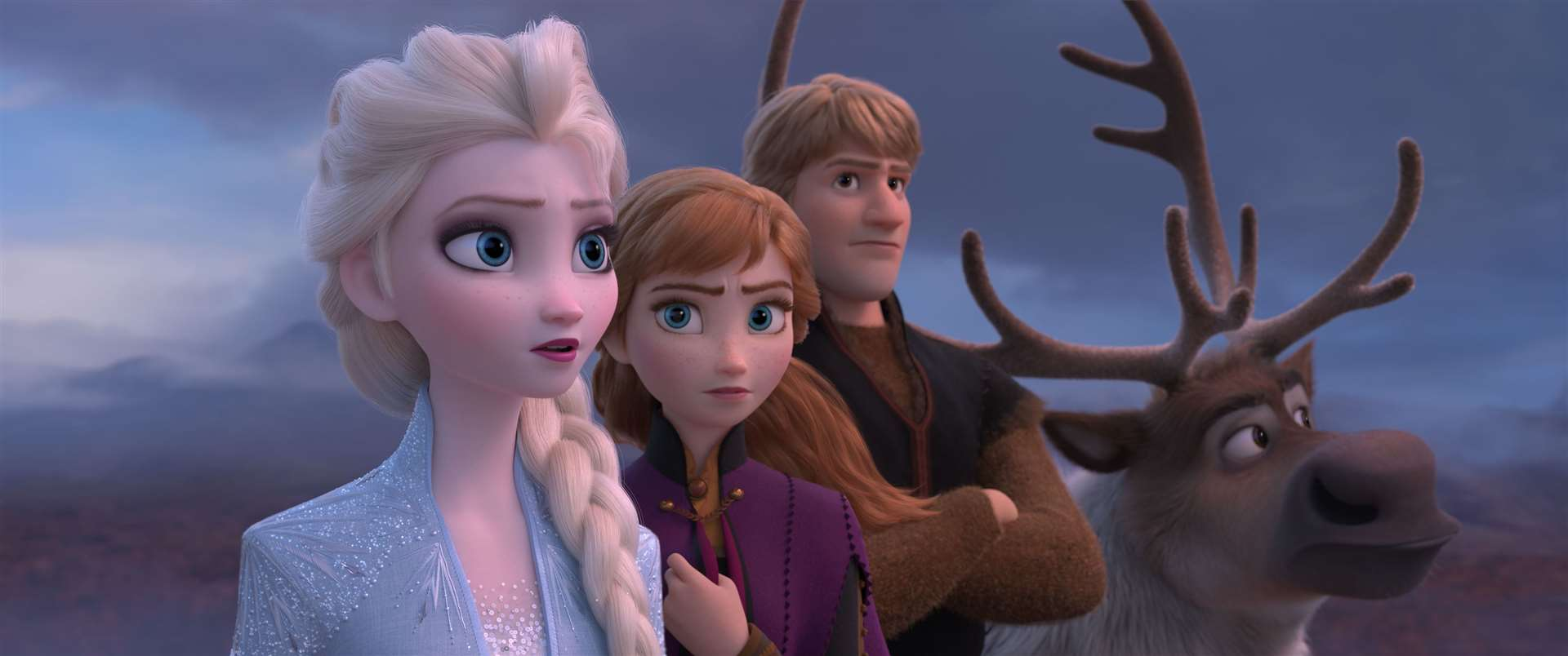Elsa (voiced by Idina Menzel), Anna (Kristen Bell), Kristoff (Jonathan Groff) and Sven the reindeer. Picture credit: PA Photo/Disney. All Rights Reserved.