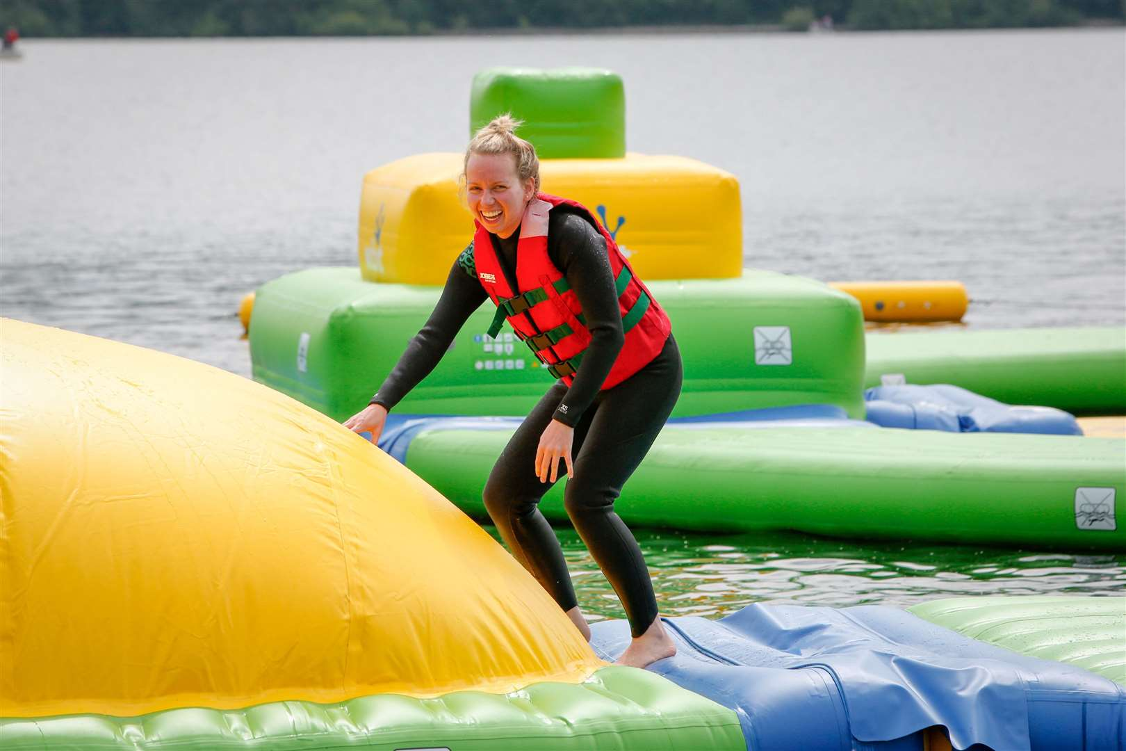 Total Wipeout style attraction at Bewl Water, Lamberhurst