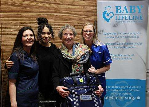 Lisa Price and Michelle Keeler from Medway NHS Trust with Call the Midwife actresses Leonie Elliott and Linda Bassett