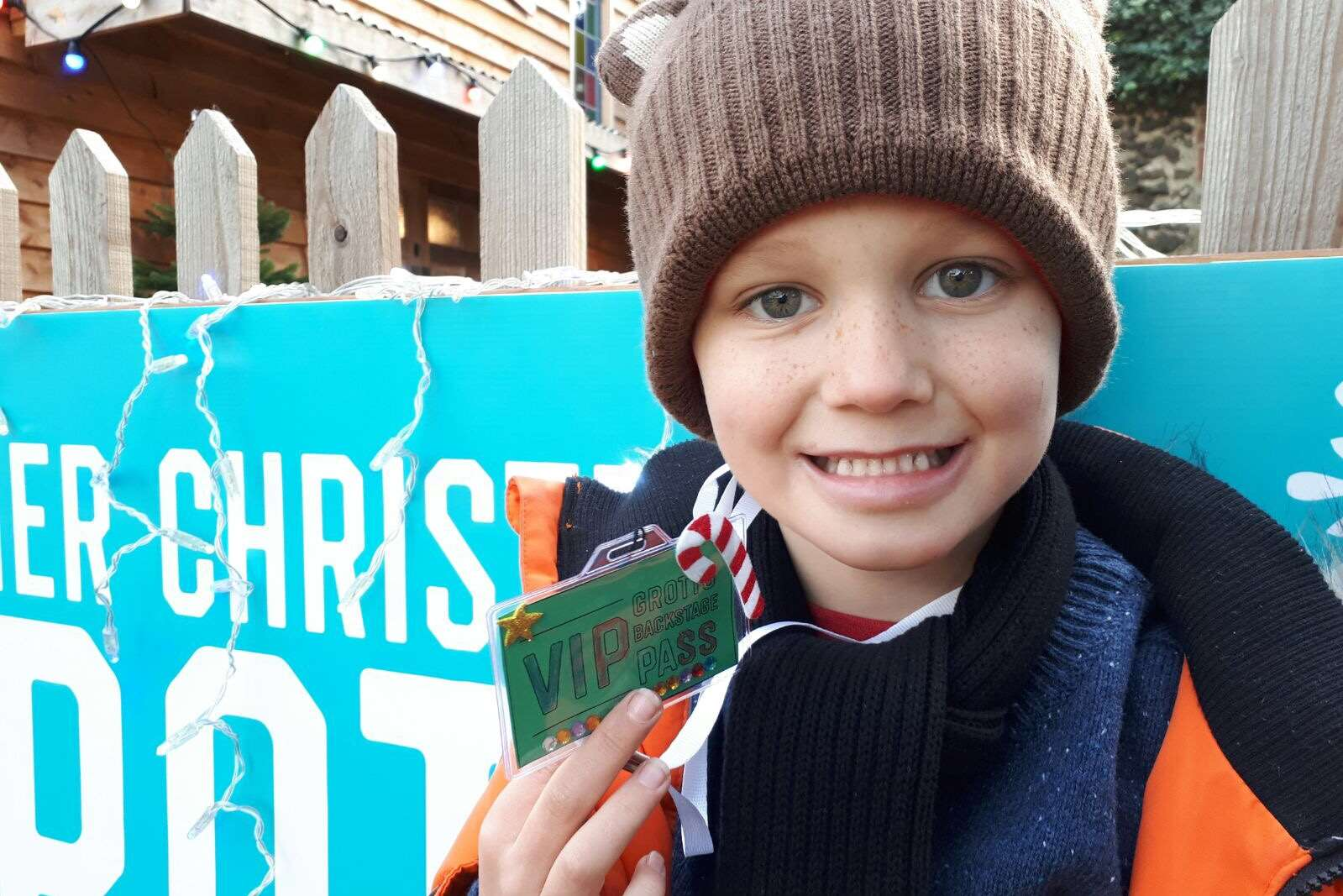Oscar and his festive VIP pass