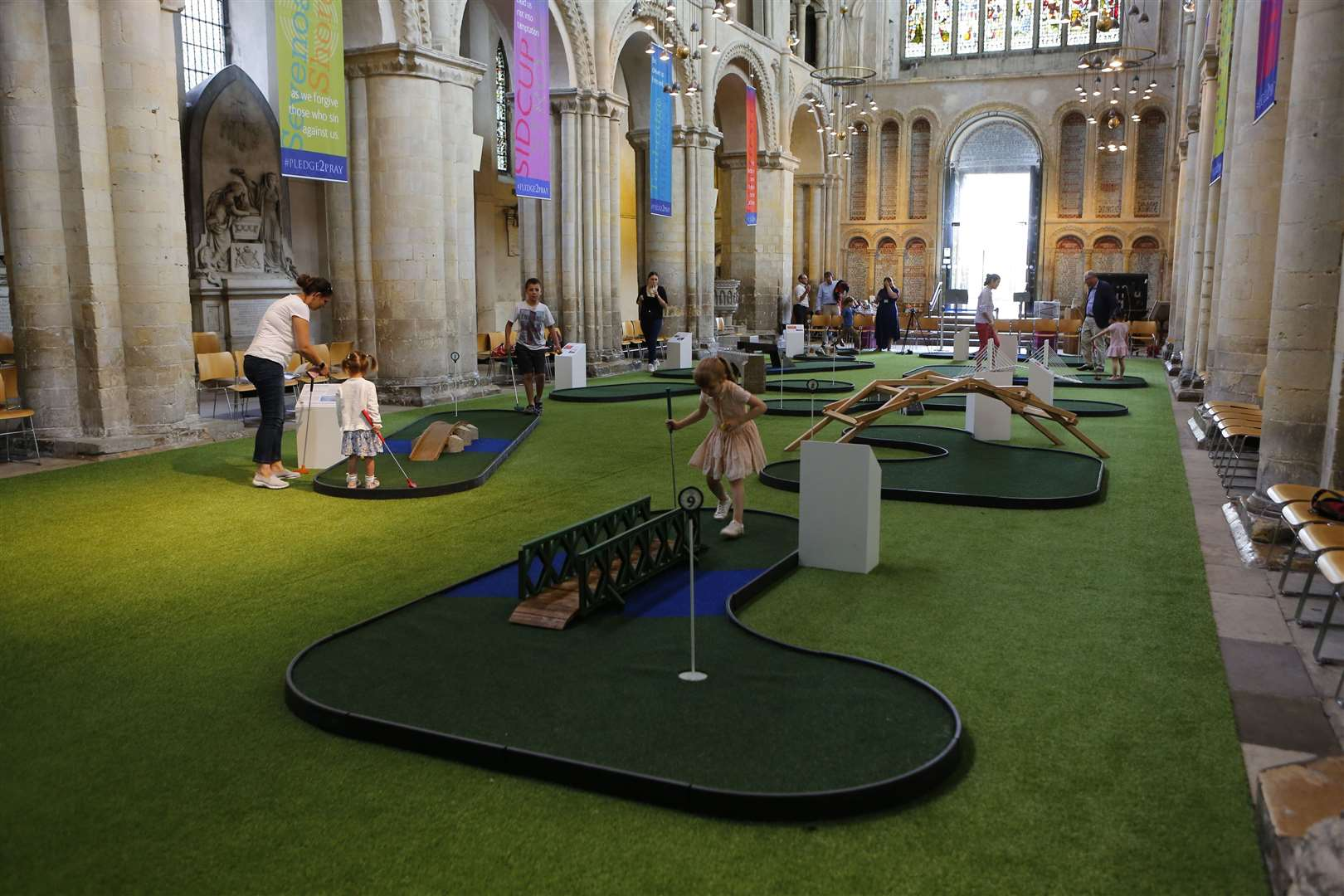 Try adventure golf within Rochester Cathedral