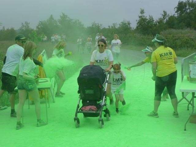 The KM Colour Run takes place at Betteshanger Park near Deal on Sunday, June 9