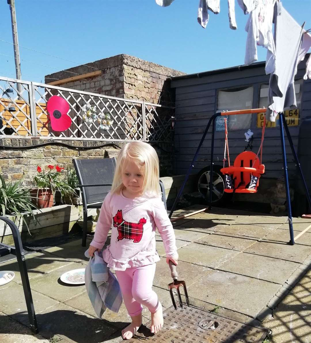 Joe from Sheerness sent this picture in of daughter Robyn in the back garden for Snapshot Kent