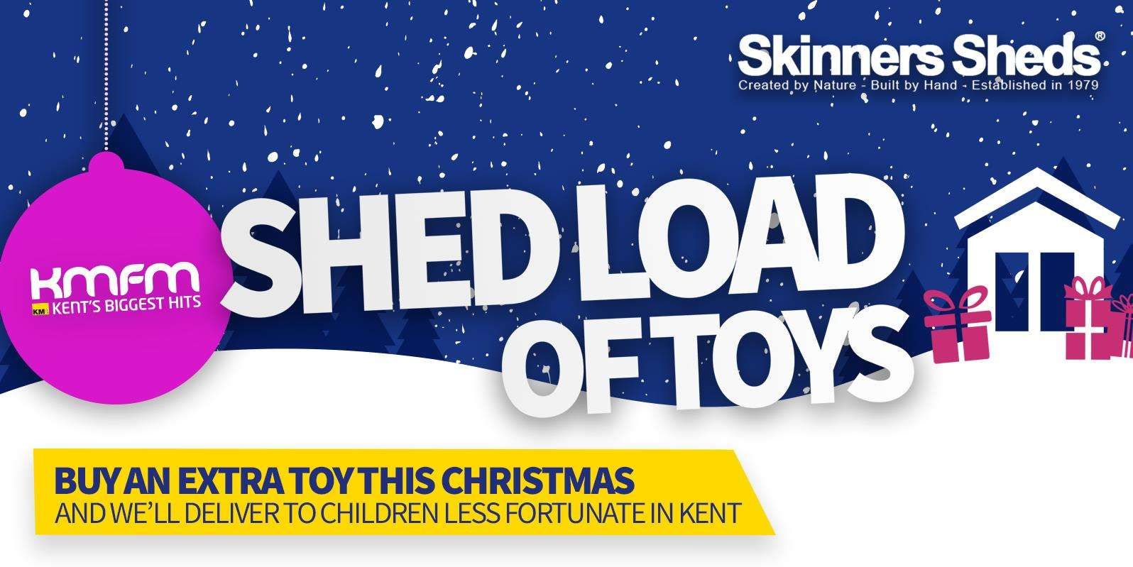 kmfm Shed Load of Toys appeal with Skinners Sheds