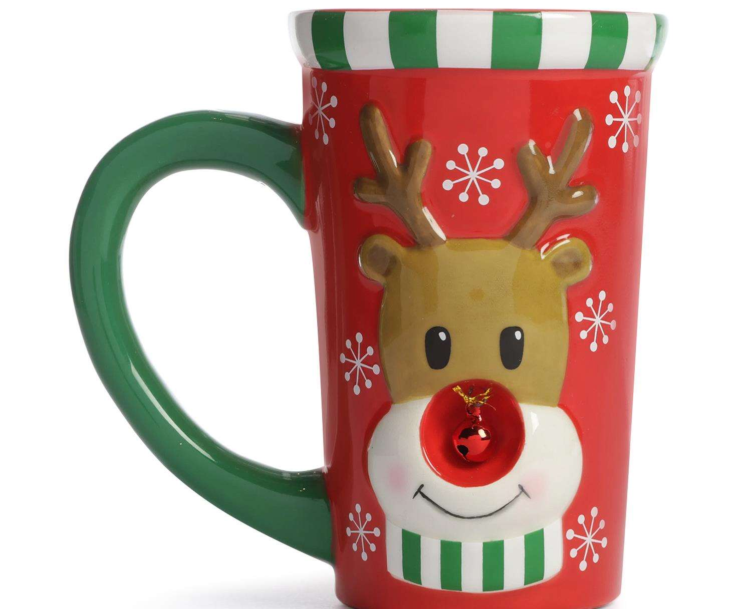 Enjoy a hot chocolate in a festive mug on Christmas Eve. Rudolph mug from Primark, £5.