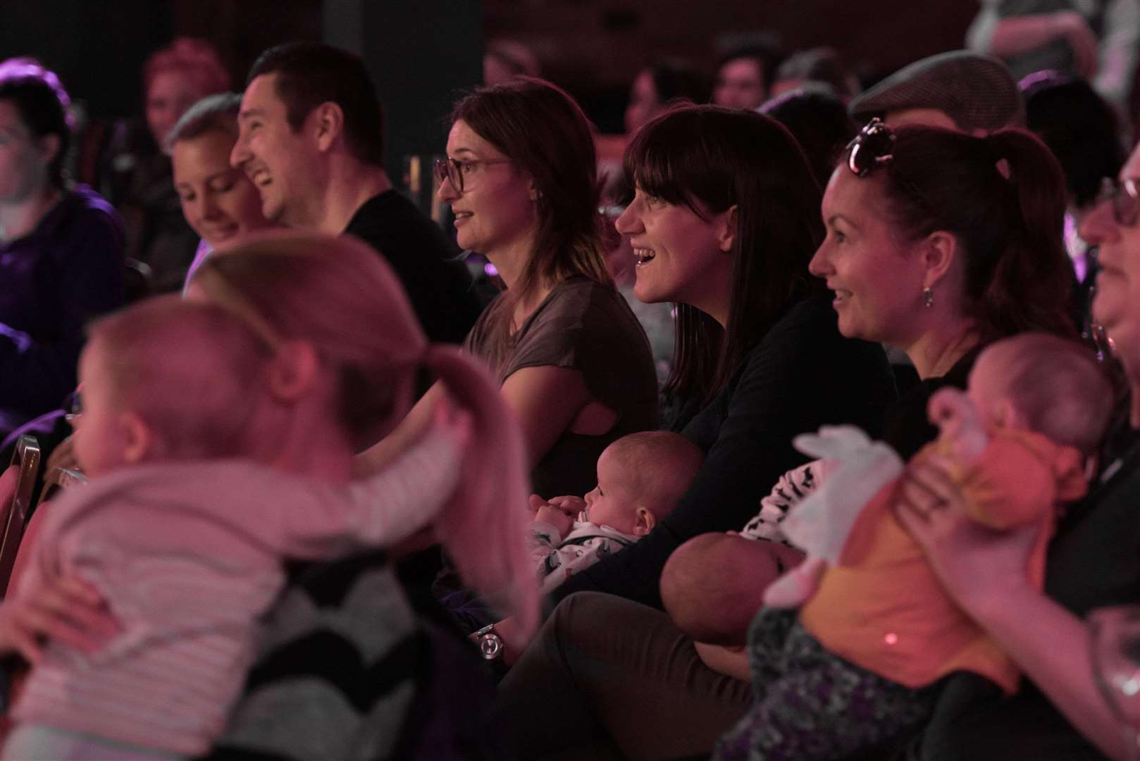 The comedians performing their usual adult material at BYOB events, which is why there's a 12 month age limit for babies