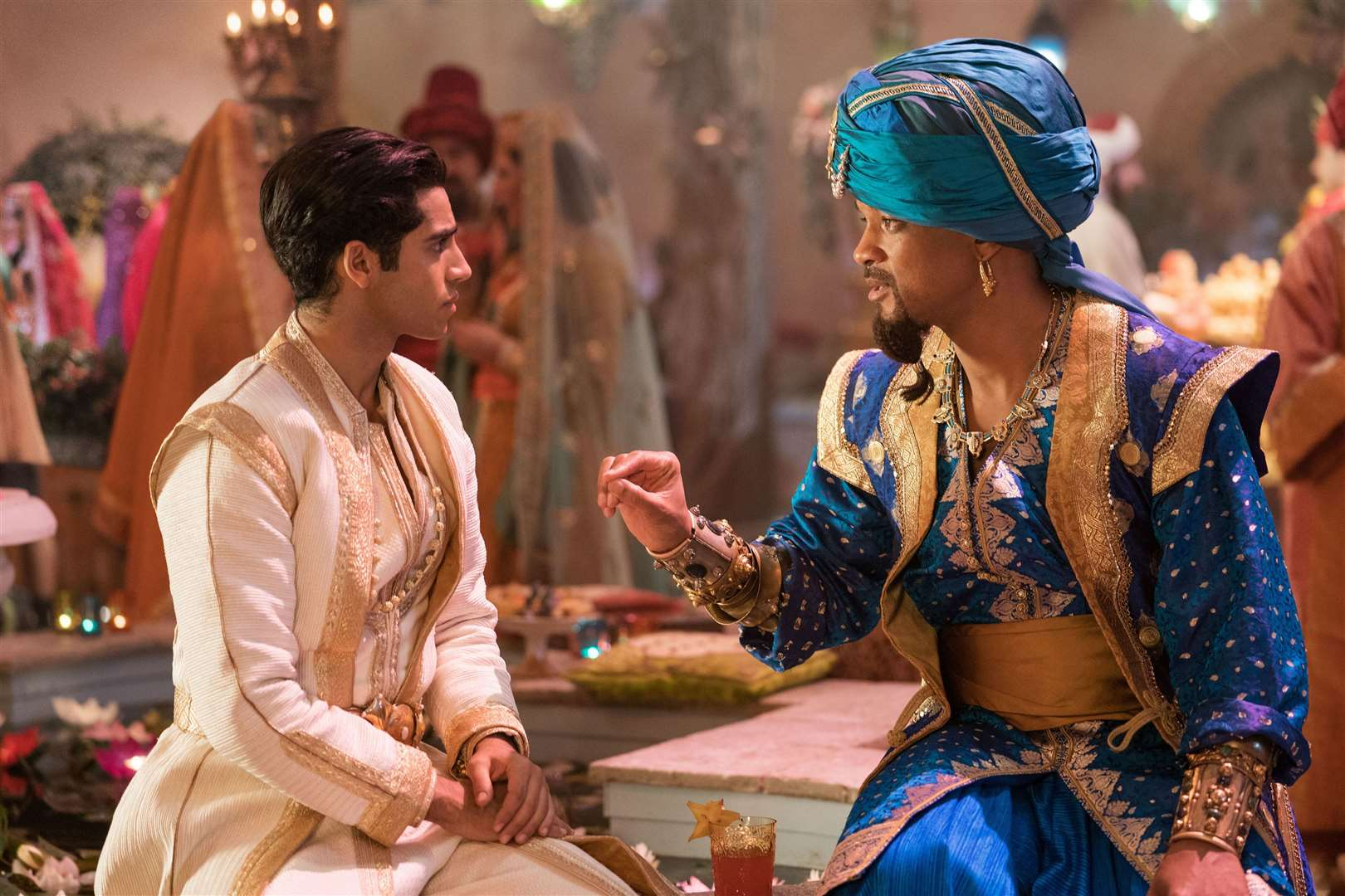 Mena Massoud as Aladdin and Will Smith as Genie. Picture credit: PA Photo/Disney Enterprises, Inc./Daniel Smith.