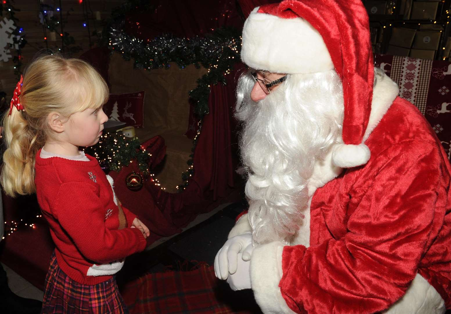 Children meeting Father Christmas when he stopped at Dobbies last year