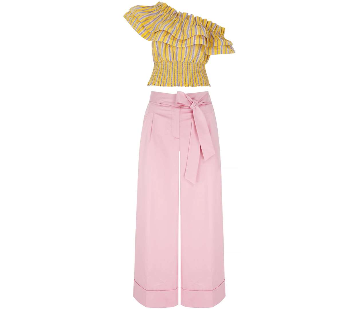 1. TROUSERS River Island Yellow Stripe One Shoulder Shirred Crop Top, £15 (reduced from £35); V by Very Pink Wide Crop Trouser, £28